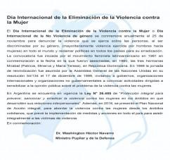DIA INTERNACIONAL DE LA ELIMINACION DE LA VIOLENCIA CONTRA LA MUJER