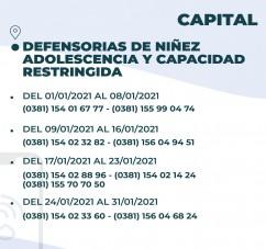 EL MINISTERIO PUPILAR Y DE LA DEFENSA DIO A CONOCER LOS TELEFONOS DE CONTACTO CON LAS DEFENSORIAS OFICIALES DURANTE LA FERIA JUDICIAL